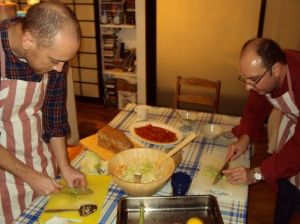 Chopping, slicing and grating the ingredients for the Politiki Salad